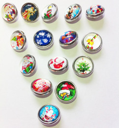 Wholesale Circle Dome - 50pcs lot Mix Colors Fashion Glass Dome Noosa Chunks Christmas Day Metal Ginger 12MM Snap Buttons For Diy Jewelry Findings