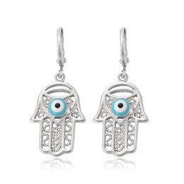 Wholesale Silver Plated Evil Eye - Xuping Hollow Hamas Hand Charm Earrings Mysterious Evil Eye Copper Dangle Ear For Halloween Party Wholesale Decoration Jewelry DH-17-10K0005