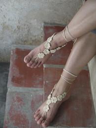 Handgemachte Baumwolle Coat häkeln barfuss Sandale, Crochet Schuhe Sandale, Hochzeit barfuss Sandale, Strand Schuhe, Brautjungfer barfuß, Fuß Riemen von Fabrikanten