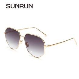 Wholesale Over Sized Sunglasses - Wholesale- SUNRUN Women Sunglasses Over Size Mirror Polygon Metal frame UV400 Brand Design Sun Glasses for Man Oculos T7015