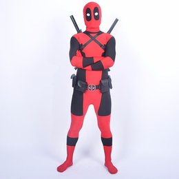 Wholesale Teenage Suits For Boys - Cool Boys Deadpool Costume Halloween Costume For Adult Deadpool Party Cosplay Men Male Full Body Zentai Jumpsuit Tight Suit