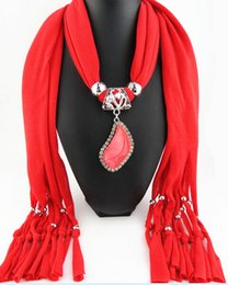 Wholesale Heart Shaped Pendant Scarf - HWJ1016 Foreign Fashion Jewelry Scarves Water Droplets Teardrop-Shaped Resin Pendant Scarf Women's Shiny Color Soft Scarf 180X40MM 20pcs lot