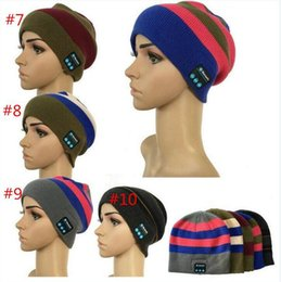 Wholesale Free Music Iphone - Bluetooth Music Hat Soft Warm Beanie Cap With Stereo Headphone Headset Speaker Wireless Microphone Headgear Knitted Caps for Iphone 7 plus