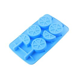 Wholesale Silicone Chocolate Sheet - 2 Per Sheet Orange Shape Silicone Chocolate Lollipop Mold Ice Tray Soap Mould Brand New Good Quality Free Shipping