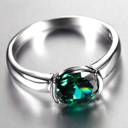 Wholesale Emerald Crystal Rings - Concise Oval Emerald Ring with 18K White Gold Plated Fashion Green Crystal Jewelry For Women Gift