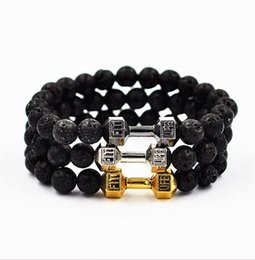 Wholesale 6mm Silver Plated Bracelet Chain - wholesale 8pcs lot  Natural Stone 6mm 8mm 10mm Lava stones Beads with Zinc alloy Dumbbell Bracelets for Unisex