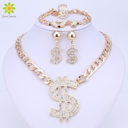 Wholesale Silver Pendant Ring Earrings Set - Gold Plated Hip Hop Bling Bling Dollar Sign Pendant Jewelry Set Dollar With Rhinestone Pendant Necklace Earrings Ring Bracelet