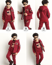 Wholesale Velvet Children S Clothing - Male and female children's clothing in the fall and winter of 2016 new thickening and velvet older children baby fleece three-piece suits au