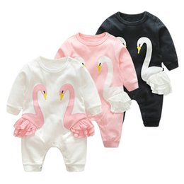 Wholesale Toddler Animal Onesies - baby clothing Autumn Cartoon baby Girls onesies Swan Ruffle Long Sleeve Infant Bodysuit Cute Toddler Romper INS Newborn Jumpsuit C2043