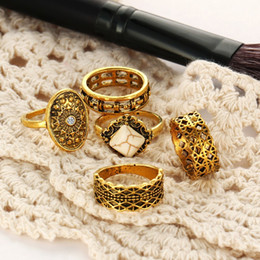 Wholesale 14k Gold Stacking Rings - Vintage Golden Moon 5pcs Stack Rings Joint Rings Knuckle Nail Midi Ring Set Retro Women Jewelry Accessories Free DHL D21S