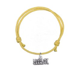 Wholesale Gifts For Grandpa - Handmade Adjustable Eight Color Wax Cord Bracelet Silver Plated I Love My Grandpa Charm Bracelet for Gift Jewelry