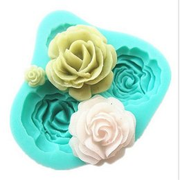 Wholesale Soap Mold Sizes - 1PCS 3D Rose Flowers Shape cake mold 4 Sizes Silicone Pink Fondant Chocolate Soap Mold DIY Pastry Mold Baking Forms