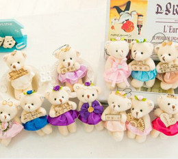 Wholesale Teddy Bear For Mobile - 30pieces lot i LOVE YOU bear small Wedding gift dress bear Mobile phone chain bag chain plush baby toys for children's