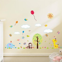 Wholesale Balloons Animal Large - 100pcs Cartoon animal zoo monkey elephant art balloon Kids room decor girls gift home decal wall stickers ZY1311 art baby room decor 3.5