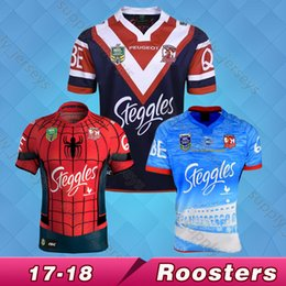 Wholesale Australia Free - Free shipping 2017 Australia Sydney Roosters Rugby Jerseys NRL National Rugby League top quality 9S rugby shirts Spiderman Jersey S~3XL
