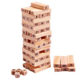 Wholesale domino game toys - Wholesale-Wooden Tower Wood Building Blocks Toy Domino 54pcs Stacker Extract Building Educational Jenga Game Gift 4pcs Dice