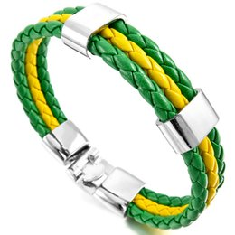 Wholesale Feather Wristband - Jewelry Mens Womens PU Leather Braided Soccer Fan Nation Wristband Team Feather Bracelet Flag Cuff Green Yellow Green
