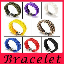 Wholesale Seven Bangles - Direct hot money seven core 8 color polyester umbrella rope bracelet survival emergency outdoor camping climbing Lucky Charm Bracelet