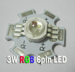 Venda por atacado- 5pcs / lot 3W de alta potência RGB Color 6pin LED Chip Light Parte da lâmpada com 20 milímetros de base de estrelas de