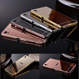 Wholesale Metal Aluminum Hard Case - New Mirror Metal Aluminum Hard Acrylic Back Cover Case For Sony Xperia Z5 Z5 Premium Z5 Compact Z2 Z3 mini Z4 Z Z1