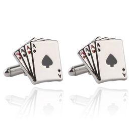 Wholesale poker fashion - Jewellery 4A poker cufflinks male French shirt cuff links Cards Design cufflink Fashion for men's Jewelry Gift drop ship 170631