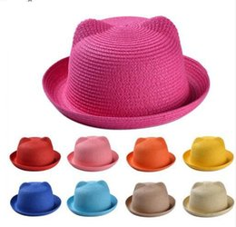 Wholesale Sun Hat Cat - Baby Straw Hat Summer Kids adult Cat Ear Decoration Lovely Beach Cap Sun Hat Solid Beach Hats 17 color KKA3091