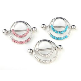 Wholesale Nipple Charms - Hot Sale Nipple Ring Sexy 3 Color Circle Body Nipple Shield Bar Barbell Piercing Ring Jewelry Charm Nipple Piercing Rings Body Jewelry 12PCS