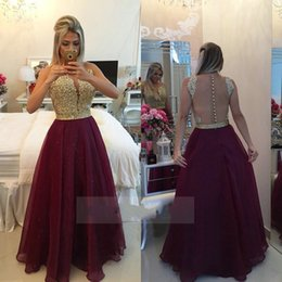 Wholesale See Through Royal Blue Gowns - See Through Back Burgundy Evening Dresses Long Organza Gold Champagne Lace Applique Formal Gowns 2017 robe de soiree long