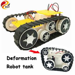 Wholesale Rc Crawler Kit - Wholesale- Deformation Smart Tank Robot Crawler Caterpillar Vehicle Platform for Arduino SN1900 DIY Robot Project Graduation Design RC Kit