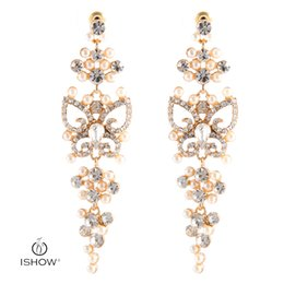 Wholesale Handmade Gold Plated Earrings - Luxury Hollow Drop Earrings Woman Gold-color Dangle Earrings Bohemia Butterfly With Crystal Pearl Handmade Fashion Jewelry