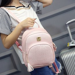 Wholesale Embossed Bags - Fashion Mochila Escolar Korean Backpacks Fashion PU Leather Shoulder Bag Crocodile Pattern Small Backpack Embossed School Bags