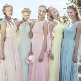 Wholesale Girl Different Dress - 2016 Different Styles Floor Length Long Cheap Bridesmaid Dress Custome Made Chiffon Beach Wedding Guest Dress Vintage Flower Girls Dress