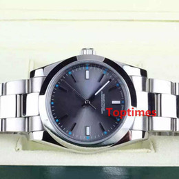 Wholesale Mens Automatic Water Resistant Watches - High Quality 39mm Date Steel Gray Dial 114300 Mechanical Automatic Mens Watch Luxury Brand Watches Men Casual Luminous Water Resistant