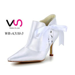 Wholesale Navy Satin High Heels - Good quality Nice Plain Lace Ankle Boot Ivory Color Pump Pointy Toe Elegant Style Bridal Shoe Wedding Dress Shoes Handmade Shoes for Wedding