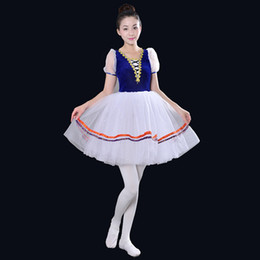 Wholesale Professional Ballroom Dancing - Short Sleeve Professional Girl Tutu Ballet Costumes Blue Adult Swan Lake Dance Dress Stage Ballroom Dance Wear