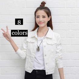 Wholesale Womens Short Denim Jackets - High Quality Spring Autumn Denim Jacket White Womens Jeans Jacket Black Short Jeans Overcoat Ladies Girls Slim Jackets Tops