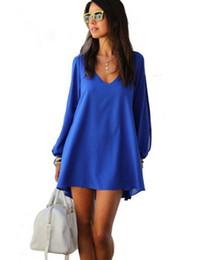 Vestito chiffon nero dalla tunica online-Abbigliamento da ufficio da donna abito ampio abito abiti casual in chiffon bianco nero blu blu