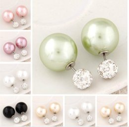 Wholesale Rhinestone Crystal Flowers - Top New Shining Full Crystal Double Sides Pearl Stud Earrings pearl Double Ball Beads Stud Earrings For Women Brincos