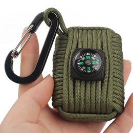 Wholesale Emergency Compass - Survival Fishing Kit Carabiner Keychain Compass Paracord Fishing Lines Tin Foil Fire Starter Outdoor Emergency Tools Set