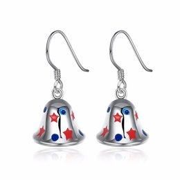 Wholesale Bell Flower Earring - Christmas Bell STARS Dangle Earrings Silver Plated for Teenagers Girls Christmas Silver Plated Dangle Earrings Gift