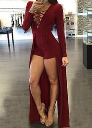 Projetos da forma do jumpsuit novo on-line-2016 nova Moda Feminina Macacão Lace Up Design Oco Out Com Decote Em V Maxi Overlay Romper