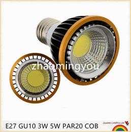 Wholesale High Power Led Chip 5w - 10pcs lot PAR20 COB Chips GU10 E27 MR16 B22 3W 5W Dimmable High Power Led light Led Lamp Spotlight Free Shipping