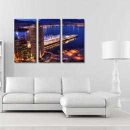 3 Image Combinaison Art Murale Ville Nuit Impression Sur Toile Peinture À L'huile Mur Art Décoration Moderne Abstrait Sur Toile Bâtiments Lac ? partir de fabricateur
