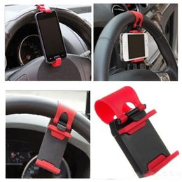 Wholesale View Mounts - iRainy Universal Cell Phone Car Mount Holder on Steering Wheel Better View & Buckle Clip Hands Free to GPS Your iPhone Samsung YM0109