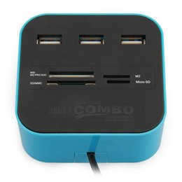 Wholesale Duo Usb - USB 2.0 Hub 3 Ports with Card Reader Combo for SD MMC M2 MS PRO DUO PC Laptop