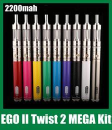 Gs ego ii twist mega kit online-GS EGO kgo 2 II Twist Mega Kit con V-Core 3 GlassTank Atomizador Ego-II Twist Battery 2200mAh EGO II Twist Mega e kit de cigarrillos 2015 Nuevo DHL