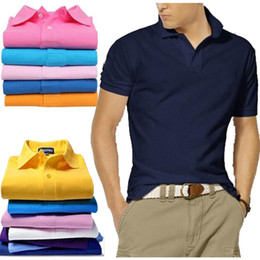 Wholesale Mens Wholesale Polo Shirts - Business Office Polo Shirt New Brand Men Clothing Solid Mens Big Horse Embroidery Polo Shirts Casual Poloshirt Cotton Slim Fit Breathable