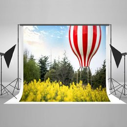 Wholesale Background Pictures Photos - 7x5ft Air Balloon Photo Backdrops for Pictures Yellow Flowers Child Photography Props Backgrounds for Studio Digital Printed Cotton HJ05192