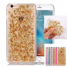Wholesale Glue For Bling Phone Case - For iphone 5 6 7 plus Gold foil glue Bling Sparkle Faceplate Colorful Leaf Design Semi-transparent Flexible Soft TPU phone Case
