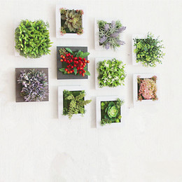 Wholesale wood door decorations - 3d Creative Metope Succulent Plants Imitation Wood Photo Frame Wall Decoration Artificial Flowers Home Decor Living Room
